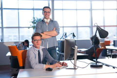 Two Business People Working With computer in office Royalty Free Stock Photos