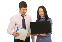 Two business people using laptop Stock Photos