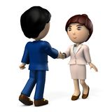 Two business people who shake hands. A pair of men and women. It depicts a business partner. 3D illustration. White background stock illustration