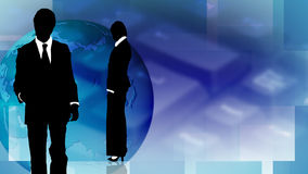 Two business people wit a globe background. 1 Stock Photo