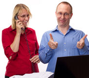 Two business people working Royalty Free Stock Images