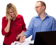Two business people working Stock Photo