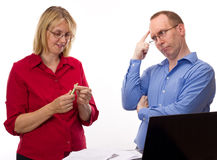 Two business people working Royalty Free Stock Photo