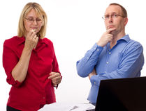 Two business people working Royalty Free Stock Photography