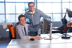 Two Business People Working With computer in office Royalty Free Stock Photo