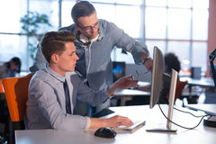 Two Business People Working With computer in office Royalty Free Stock Images