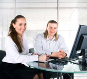 Two business people working in team Stock Photos