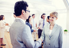 Two Business Person Handshaking in the Office stock image