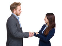Two business person shaking hand. Isolated on white Royalty Free Stock Image