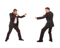 Two business rivals. Want to fight. isolated on white Stock Photography
