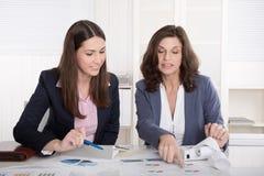 Two business woman analyzing balance sheet.