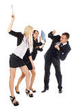 Two the business woman beat the man folders Royalty Free Stock Images