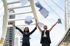 Two business woman happy with their job, funny job Royalty Free Stock Photo