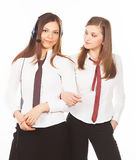 Two business woman on white background Royalty Free Stock Images