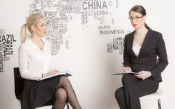 Two business woman on a white background. Stock Photography