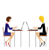 Two  business woman work in office Royalty Free Stock Image