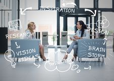Two business women in armchairs with white business doodles Royalty Free Stock Images