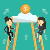 Two business women competing for the money. Royalty Free Stock Photos