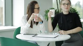 Two business women discussing a business project and drinking coffee in cafe stock video footage