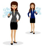 Two business women press index fingers the virtual buttons Stock Image