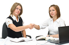 Two business women shaking hands Royalty Free Stock Photo