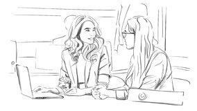 Two business women talking in the office Vector. Storyboard digital template. Sketch style line art royalty free illustration