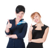 Two business women wih thumb up Stock Photography