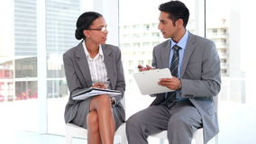 Two business worker speaking together stock footage