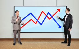 Two businessman and arrows Stock Image