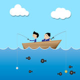 Two businessman on the boat cathing money Royalty Free Stock Image