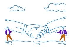 Two businessman communication business partnership agreement concept handshake background successful conversation sketch. Doodle horizontal vector illustration stock illustration