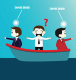 Two Businessman with conflict thinking in boat Stock Photography