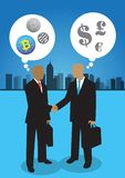 Two businessman and currency perception. An illustration of two businessman shaking hands with their own perception Royalty Free Stock Photo