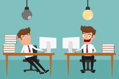 Two businessman are different have idea and  have no idea. Royalty Free Stock Photos