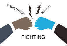 Two businessman fighting with fists, vector illustration Royalty Free Stock Images