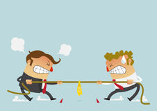 Two businessman fighting in the tug of war competition that could just define their careers. Cartoon character in flat design. Businessman in career race. Two Stock Photo