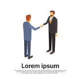 Two Businessman Hand Shake, Business Man Handshake Agreement Concept 3d Isometric. Vector Illustration Stock Photos
