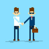 Two Businessman Hand Shake, Business Man Handshake Agreement. Concept Vector Illustration Stock Photos