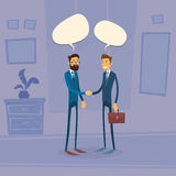 Two Businessman Hand Shake Talking Chat Box Bubble Stock Photography