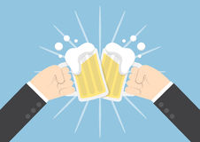 Two businessman hands toasting glasses of beer Royalty Free Stock Image