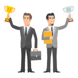 Two businessman holding cup and smiling Royalty Free Stock Images