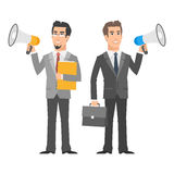 Two businessman holding speakers and smiling Royalty Free Stock Photo