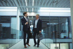 Two businessman interacting with each other in corridor. At office Royalty Free Stock Images