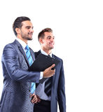 Two businessman looking Stock Photo