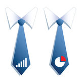 Two businessman neckties with a graph and a chart. Stock Image
