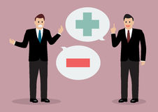 Two businessman with positive and negative thinking Stock Photo