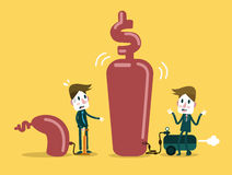 Two businessman pump up Business. Business growth and competition concept design. Royalty Free Stock Photos