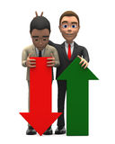 Two businessman with red and green arrow Stock Photography