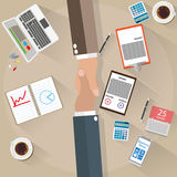 Two businessman shake hands top view vector illustration