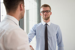 Two Businessman Shaking Hands Greeting Each Other Royalty Free Stock Images